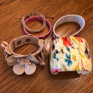 5pc Floral Skull Bracelet Cuffs Set
